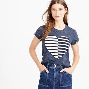 J. Crew Heart Short Sleeve Tee Shirt Style f0315 M
